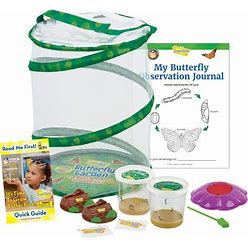 Insect Lore Butterfly Garden: Original Habitat And Two Live Cups Of Caterpillars With STEM Butterfly Journal - Life Science & STEM Education -