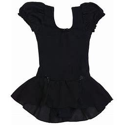 Danshuz Black Puff Sleeve Bow Trim Georgette Skirt Dance Dress Girls 12-14, Girl's