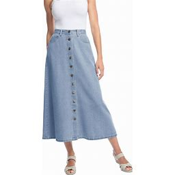 Women's Button Front Long Denim Skirt By Woman Within In Light Ston...