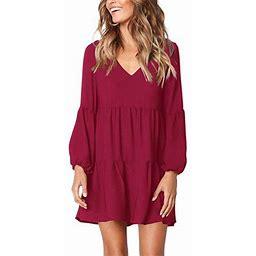 Vista Women's Long Sleeve Tunic Dress V Neck Loose Swing Shift Dresses, Size: XL, Red