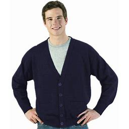 Edwards Garment Men's V Neck Cardigan With Pockets, Adult Unisex, Size: Large, Blue