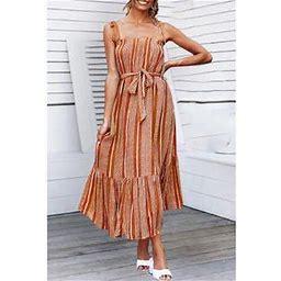 Unomatch Women Tie Strap Shoulder Printed Gown Dress, Women's, Size: XS, Brown
