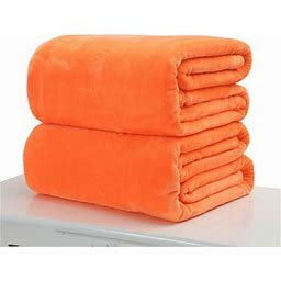 50X70cm Home Super Warm Solid Warm Micro Plush Fleece Blanket Throw Rug Sofa Bedding Flannel Throw Blanket For Pets, Orange
