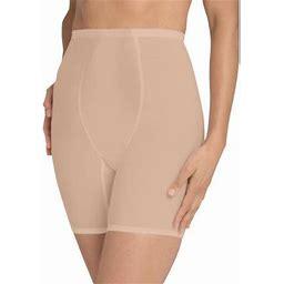 Secret Solutions Women's Plus Size High-Waist Mesh Long Leg Shaper Shapewear, Size: Large, Beige
