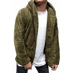 HiMONE Button Down Fuzzy Fleece Outwear For Men Solid Plain Hoodie Winter Warm Jacket Coat Casual Long Sleeve Hooded Cardigan Open Front Teddy Bear