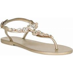 Liliana Women Jewel Embellished T-Strap Jelly Flat Sandal 18875, Women's, Black