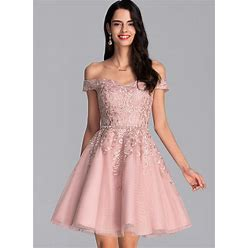 Jjshouse A-Line Off-The-Shoulder Short Mini Tulle Homecoming Dress With Beading Sequins