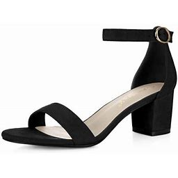 Allegra K Women's Mid Block Heel Open Toe Ankle Strap Sandals, Size: 10 B(Medium) US, Black