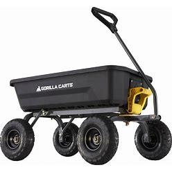 Gorilla Carts 4-Cu Ft Poly Yard Cart In Black   GCG-4