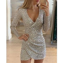 SySea Women Elegant Long Sleeve V-neck Bodycon Dress Mini Party Dress, Women's, Size: 2XL, Silver