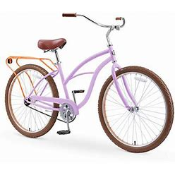 Sixthreezero Around The Block Women's 26 Inch Single Speed New Beach Cruiser Bicycle With Rear Rack, Lilac Ginger, Size: One Size, Purple