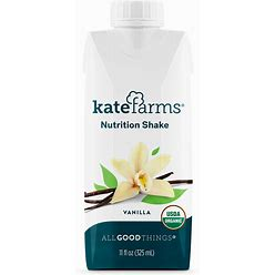 Kate Farms Vanilla Nutrition Shake - Plant-Based Meal Replacement, High-Quality, Organic Ingredients, No Dairy, Gluten, Soy, Or Corn - Case Of 12