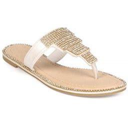 Liliana Ed87 Women Leatherette Rhinestone T-Strap Boho Slip On Sandal, Women's, Size: 6, White