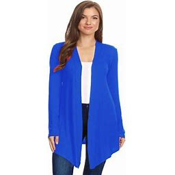 Moa Collection Women's Solid Casual Basic Comfy Loose Fit Long Sleeve Open Front Cardigan, Size: 3XL, Blue
