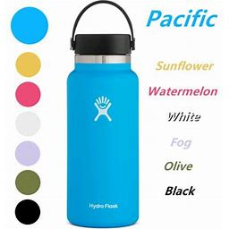 Hydro Flask 32Oz Wide Mouth Water Bottle 2.0 Stainless Steel & Vacuum Insulated - Leak Proof Flex Cap, Pacific, Size: 9.4, Blue
