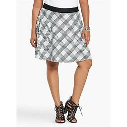 Nwt Torrid Plus Size 4X Black/White Plaid Skater Swing Skirt (Eee3)