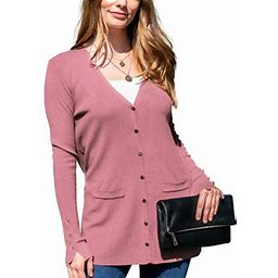 Doublju Women's Long Sleeve Pocket Front Button Knit Cardigan Sweater With Plus Size, Size: Medium, Pink