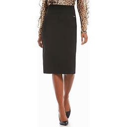 Calvin Klein Wide Waistband Ponte Knit Pencil Skirt, Womens, L, Black