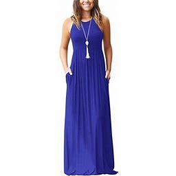 Vista Women's Sleeveless Racerback Loose Plain Maxi Dresses Casual Long Dresses With Pockets, Size: XL, Blue