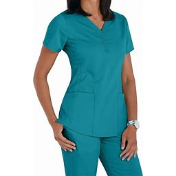 Healing Hands Purple Label Jane 2 Pocket V-Neck Easy Care Scrub Top - Teal - V-Neck Scrub Tops - Healing Hands Purple Label Scrub Tops
