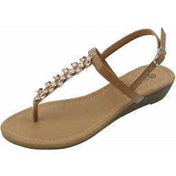 Star Bay New Women's Fashion Jewel Casual Crystal Buckles Strap Thong Flat Sandal Brown, Size: 9, Bronze