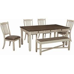 Signature Design By Ashley Bolanburg White/Gray 5 Piece Rectangular Dining Room Table Set