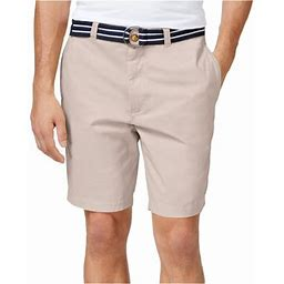 Club Room Mens Flat Front With Belt Casual Chino Shorts, Men's, Size: 44, Beige