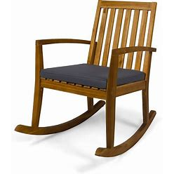 Montrose Traditional Outdoor Acacia Wood Rocking Chair By Christopher Knight Home - Teak + Dark Gray