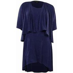 SL Fashions Glitter Flecked Hi-Lo Jersey 2 PC Dress Jacket Set, Women's, Size: 4P, Blue