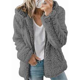 Himone Long Sleeve Outerwear For Women Casual Fulffy Fleece Jacket Zip Up Plush Faux Fur Coat Cardigans Hoodies, Women's, Size: 2XL, Gray