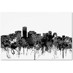 """""Long Beach California Skyline BW "" By Marlene Watson, Canvas Art, Black/White, Posters, By Trademark Fine Art"""