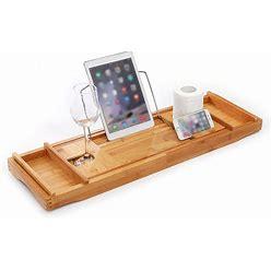 Expandable Bathtub Tray, Wine Glass Bamboo Bath Caddy Rack Support Storage Holder