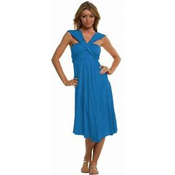 Vivian's Fashions Dress/Skirt - Twist Wrap, 10 Ways To Wear, Women's, Size: Large, Blue