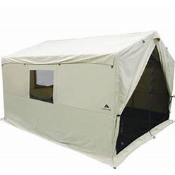 Ozark Trail North Fork 12' X 10' Outdoor Wall Tent With Stove Jack, Sleeping Capacity 6, One Large Room, Tan, White