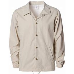 Independent Trading Co. - New Iwpf - Men - Water-Resistant Windbreaker Coachs Jacket, Men's, Size: Small, Beige