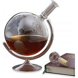 Wine Enthusiast Etched Globe Spirits Decanter Clear - Wine Enthusiast - Casual Pitchers&decanters - 35 Oz - Clear