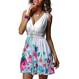 SySea S-5xl Sleeveless V-neck Printing Dress Casual Mini Dresses, Women's, Size: Medium, White