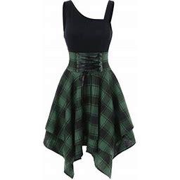 Mychoice Mchoice Womens Fashion Pleated Mini Dresses Sleeveless Cold Shoulder Cross Lace Up Plaid Print Asymmetric Dress, Women's, Size: XS, Green