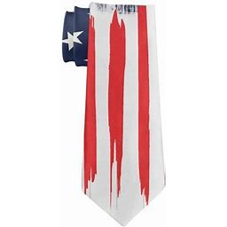 July 4th Patriotic Brushed American Flag All Over Neck Tie Multi Standard One Size, Men's