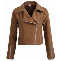 Nokiwiqis Womens Suede Leather Jacket Flight Coat Zip Up Biker Casual Tops, Women's, Size: Large, Beige