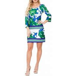 Women's Floral Printed 3/4 Sleeve Mini Dress