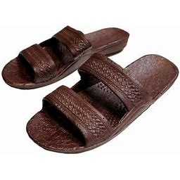 Surfware Hawaiian Brown Rubber Slide On Sandal Slippers Double Strap, Dark Brown Hawaii Sandal, Size 9 = Women Size 9 / Men Size 7, Women's