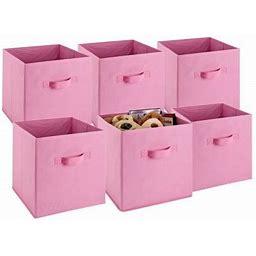 Herchr - Storage Cubes - (Set Of 6) Storage Baskets | Features Dual Handles | Cube Storage Bins | Foldable Fabric Closet Shelf Organizer | Drawer