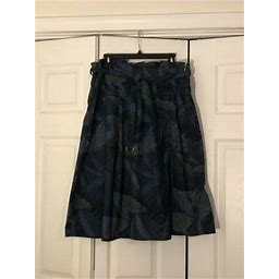 Gap Womens Floral Print A Line Skirt Belted Size 14 Tall Teal
