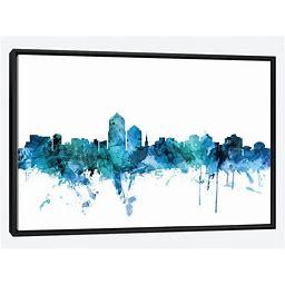 Framed Canvas Art - Albuquerque, New Mexico Skyline By Michael Tompsett