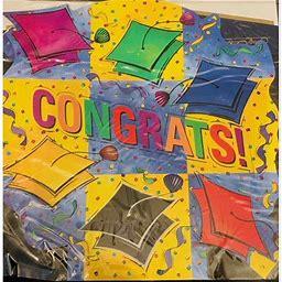 Congrats Table Centerpiece Graduation Party Decorations Grad Hat Cap Blue Yellow