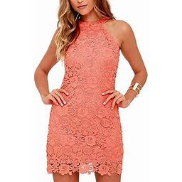 Vista Women's Casual Sleeveless Halter Neck Party Lace Mini Dress, Size: 3XL, Pink