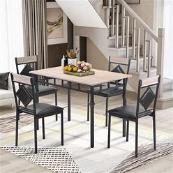 5-Piece Dining Table Set Wood Kitchen Table And 4 Leather Dining Chair - Natural