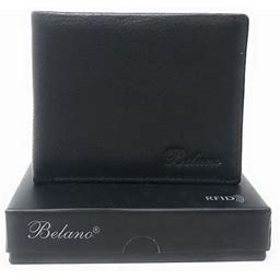 Belano Rfid Blocking Real Leather Bifold Wallets For Cards ID With Box Men Women, Adult Unisex, Size: One Size, Black