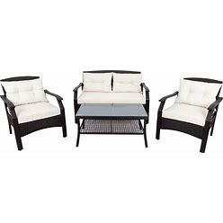 4 Piece Rattan Sofa Seating Group With Cushions, Outdoor Ratten Sofa - Beige